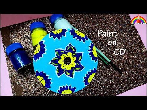 Acrylic Flower Painting ,Paint on CD by coloring book #bestoutofwastecdcraftideas #CDpaintingideas