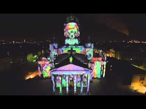 Lux festival from air. Helsinki Cathedral, Finland