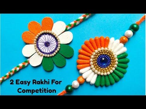 DIY 2 Easy Indian Tricolour Rakhi/ Rakhi for Kids/ Rakhi for Competition 2019.