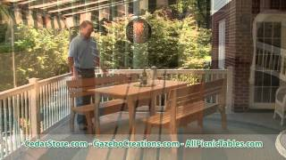 Red Cedar Contoured Picnic Table With Backed Benches From Cedarstore.com