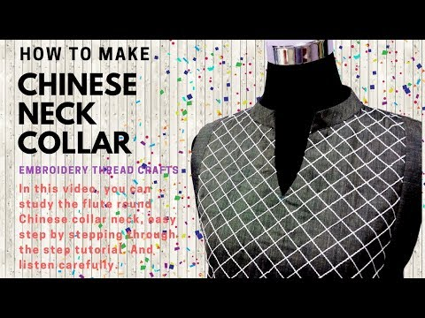 chinese neck round collar kurti with mesh yokes [ how to make] embroidery thread crafts