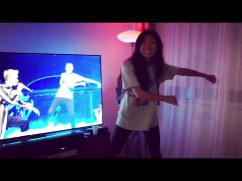 Yue attempts the Backpack Kid Dance from SNL