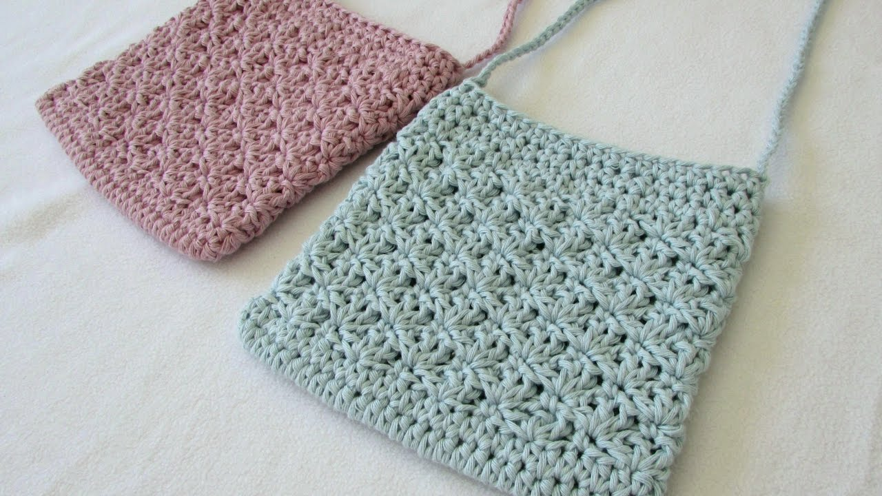 How to crochet a pretty shell stitch purse   bag - YouTube 7dd5a7b30a7b1