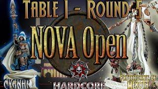 NoVA Open 2015 Hardcore - Finals Table - Cygnar (E-Haley) vs. Protectorate of Menoth (Harbinger)