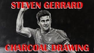 Steven Gerrard drawn in charcoal