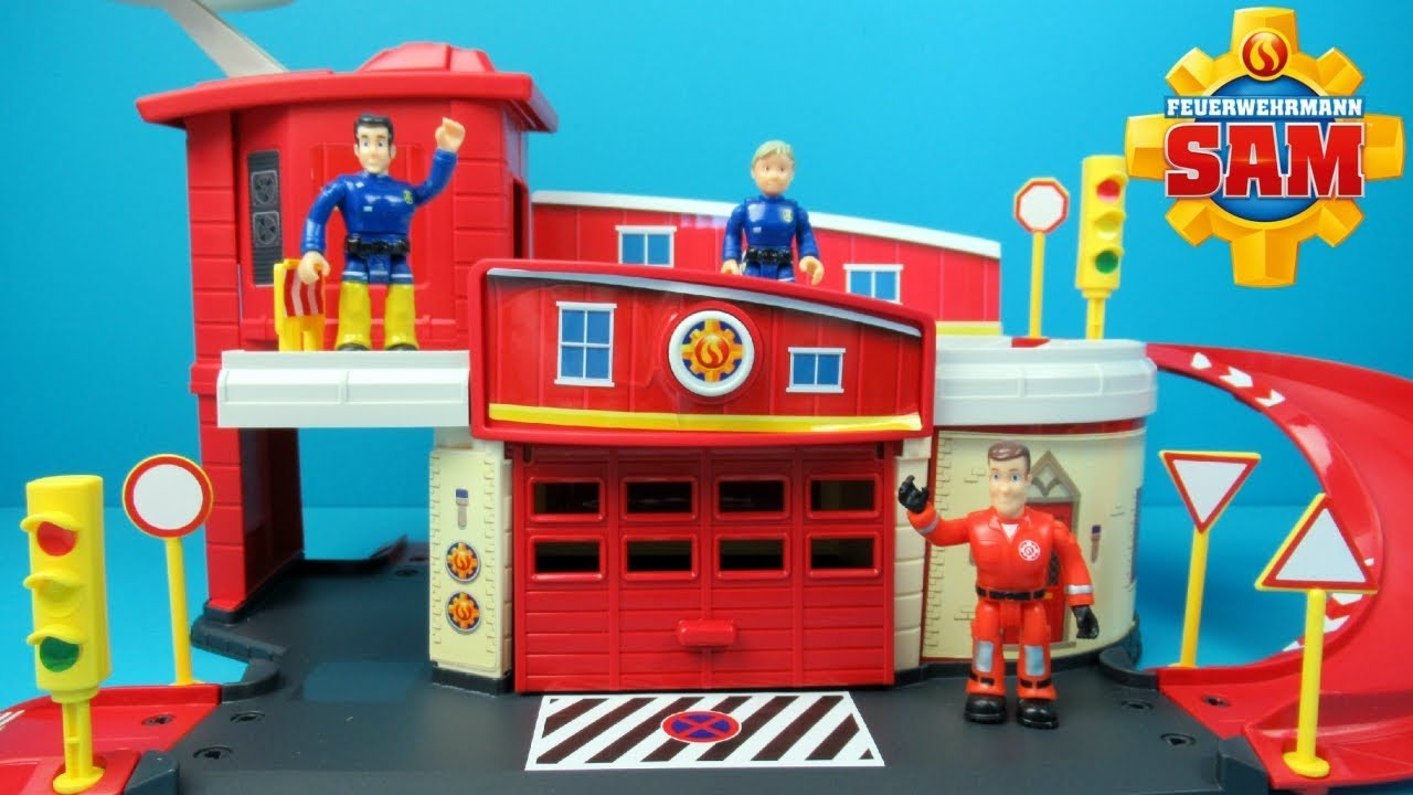 Brandweerman Sam Garage : Fireman sam fire rescue centre toy unboxing brandweerman sam