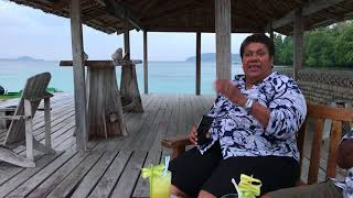 Storytelling over cocktails on the deck at the Tavanipupu Resort