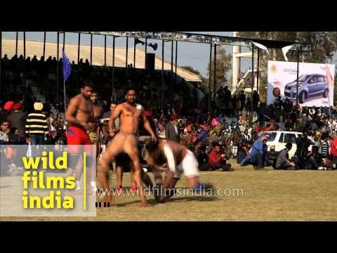Kabaddi match under way at Kila Raipur Sports Festival, India