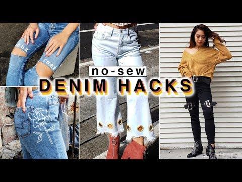 4 *NO-SEW* Ways To DIY & Customize Your Jeans! | DIY | Nava Rose