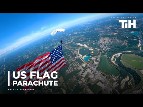 Guys Do Parachuting And Wingsuit Flying With United States Flag