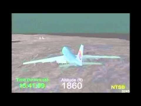 ✈ Accident of Korean Air Flight 801 ( KAL801 ) - detailed crash simulation of NTSB