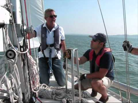 Poling out the jib - sailing downwind