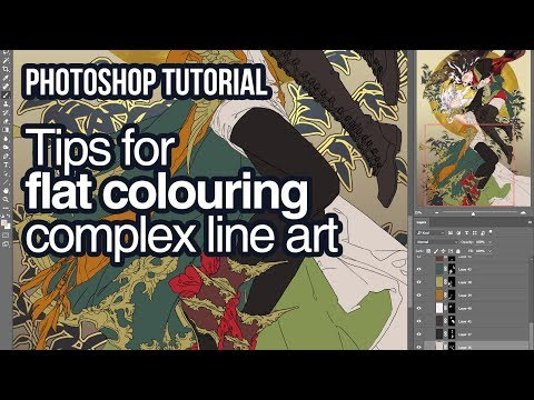Photoshop tutorial for flat colouring complex line art with magic wand/layer mask/lasso tool thumbnail