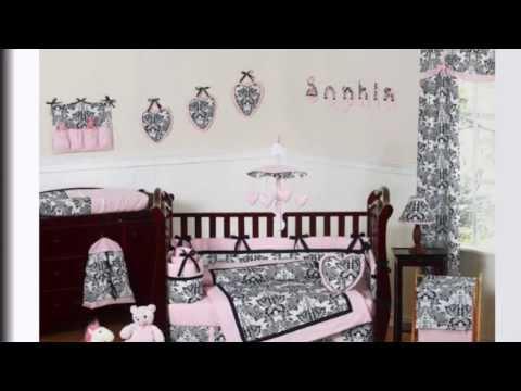 Pink And Black Damask Sophia Girl 9pc Crib Bedding Set