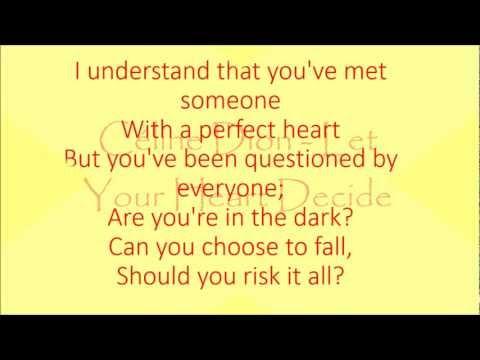 Céline dion - Let Your Heart Decide (lyrics)