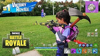 FORTNITE IN REAL LIFE WITH MY 5 YEAR OLD LITTLE SISTER!!
