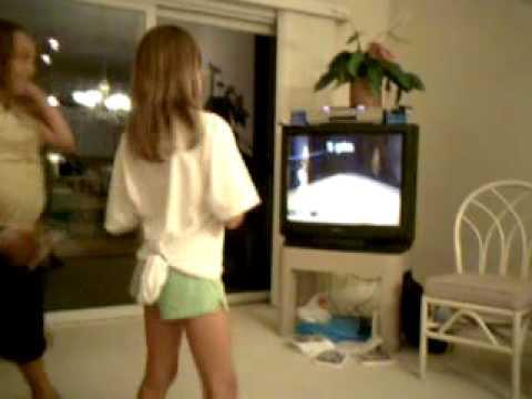Michaela & Chloe bowling on Wii