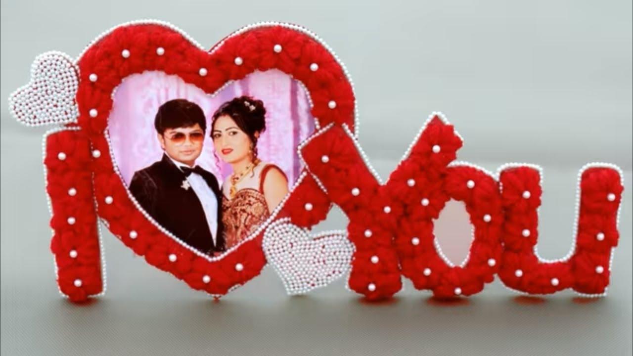 Diy Photo Frame Making Using Woolen At Home Handmade Heart Shape