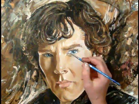 Sherlock Holmes painting, actor Benedict Cumberbatch