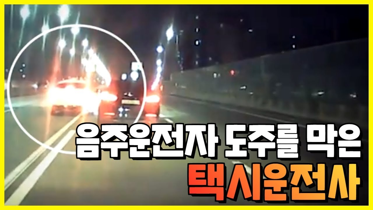 """음주운전자 도주를 막은 택시 운전사..""""음주운전은 못 참지!!!"""""""