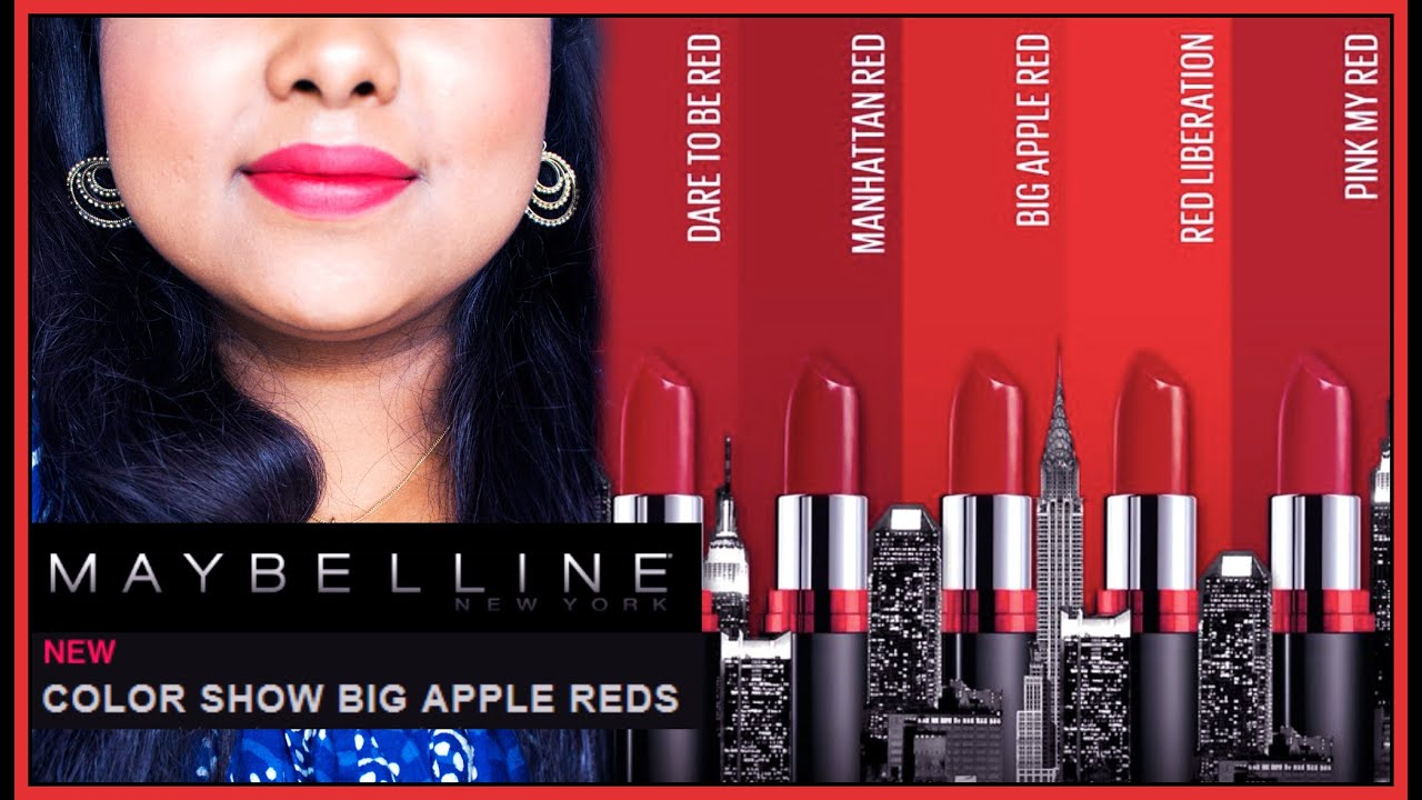 cf6e43358  NEW  MAYBELLINE BIG APPLE RED CREAMY MATTE Lipsticks Review   Swatches