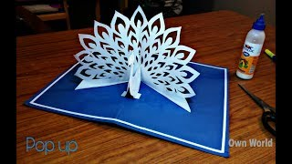 DIY - How To Make Peacock Pop up Card-Paper Crafts-Handmade Craft- Mother's Day card!