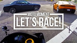 Yamaha R6 VS Dodge Challenger V8 - Chasing & RACING!
