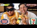 SANDWICH + BLINDFOLD FASTFOOD CHALLENGE! (Guess The Restaurant!)