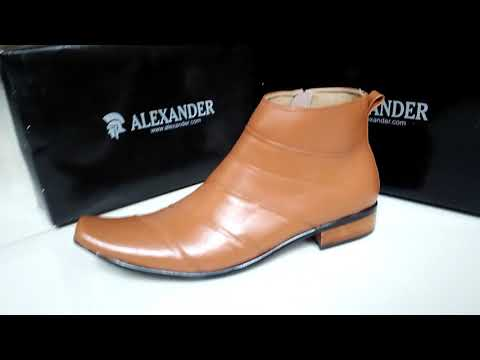 Sepatu pantofel ankle boots kulit asli Alexander shoes MB28 Tan