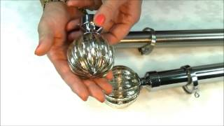 Metal curtain pole with handmade finials