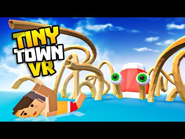 Giant NOODLE KRAKEN Monster Hunts Humans! - Tiny Town VR