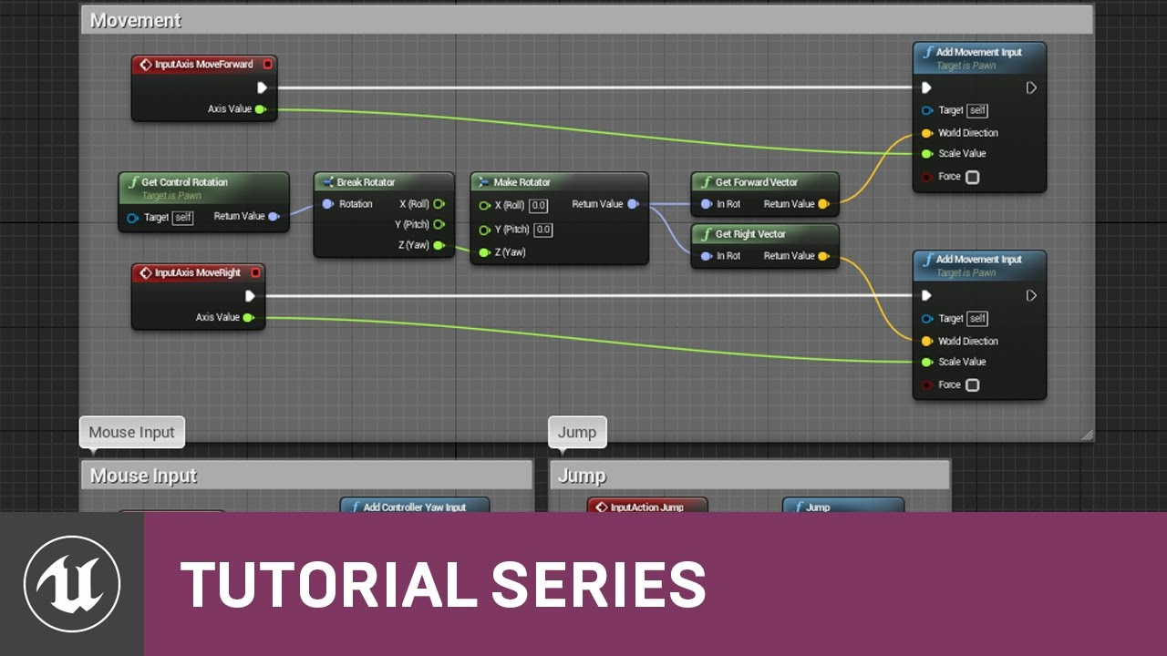 BP 3rd Person Game: Character Keyboard & Mouse Controls | 13 | v4 8  Tutorial Series | Unreal Engine