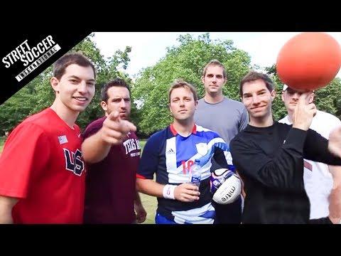 Dude Perfect & STRskillSchool | Football Trick Shots | Street Soccer International