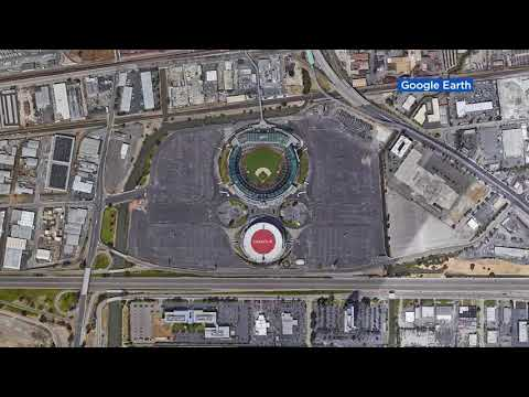 Oakland A's Coliseum site before and after proposed ballpark project