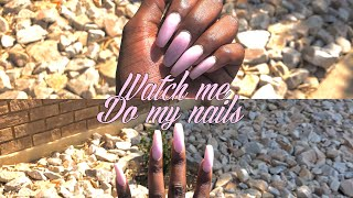 WATCH ME DO MY NAILS   PASTEL PINK COFFIN NAILS   South African YouTuber