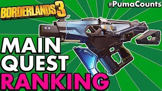 RANKING ALL MAIN STORY QUEST REWARD GUNS AND WEAPONS for BORDERLANDS 3 (Story Missions) #PumaCounts