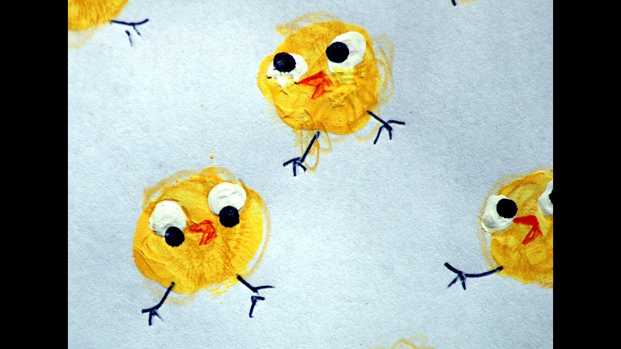 EZ KIDS CRAFTS 1 - THUMB-PRINT easter-chick chickens - YouTube