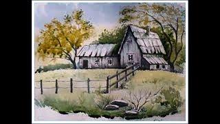 Уроки скетчинга ручкой и акварелью поэтапно/Рисуем пейзаж с домиком и оградой