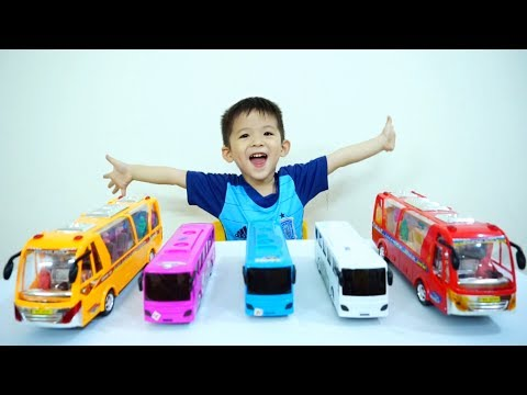 Thumbnail: Learn Colors with Wheels On The Bus Song for kids - Baby Xavi learn colours with Nursery Rhymes