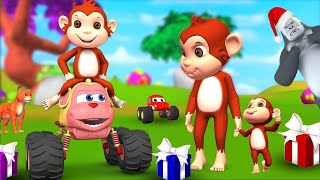 Funny Monkey Monster Car Wonder Toy Fun Videos in Forest   Funny Animals Comedy 3D Videos