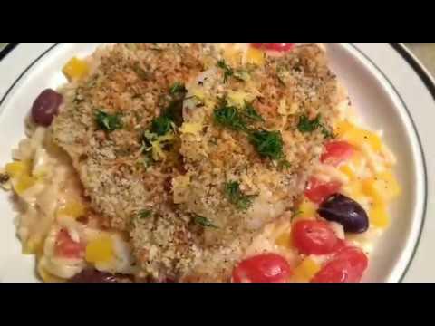 Baked Flounder Oreganata With Orzo