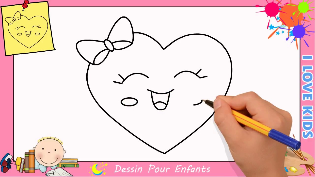 comment dessiner un coeur emoji kawaii facilement pour. Black Bedroom Furniture Sets. Home Design Ideas