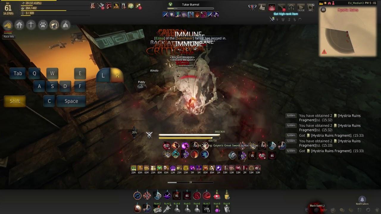 Black Desert Online - Warrior 61 - Hystria rotation