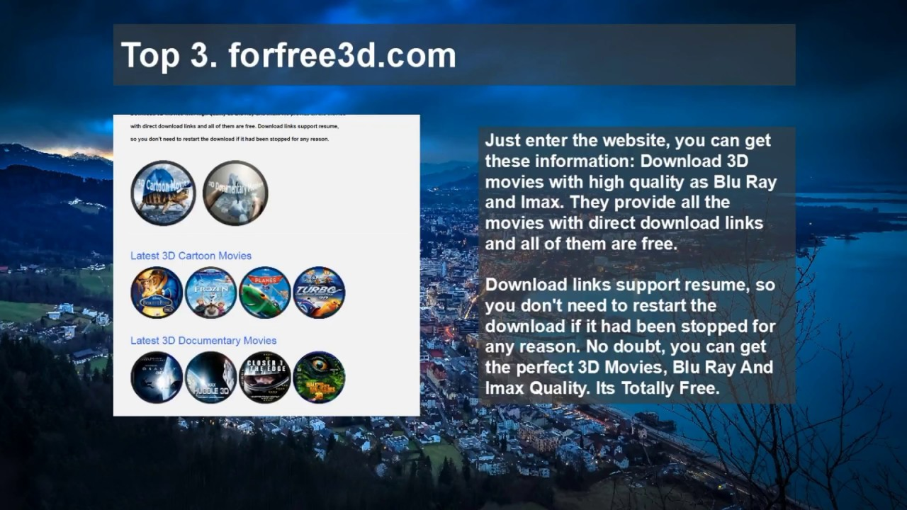 Free 3d movies download website youtube.