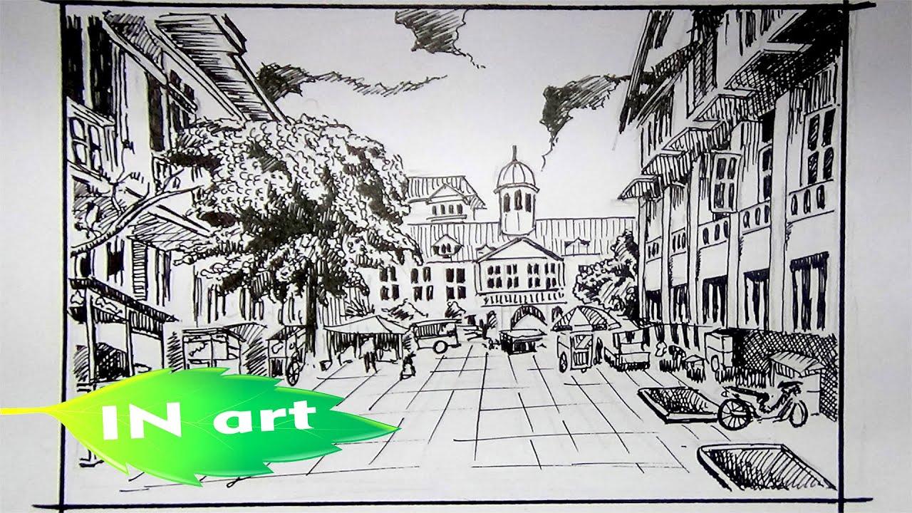 50 Sketsa Gambar Pemandangan Perkotaan Gudangsket