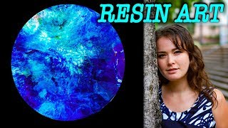 Resin art trialing out acrylic paints with resin   ocean themed
