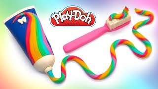 Rainbow Toothpaste & Tothbrush . Play Doh DIY Videos. How to Make Play Doh Creations Crafts.