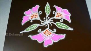 Video Simple flower kolam with 7 to 4 Interlaced dots- flower muggulu designs- flower rangoli designs download MP3, 3GP, MP4, WEBM, AVI, FLV Juli 2018