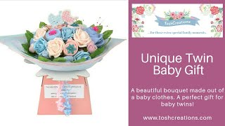 Unique Twin Baby Gift   A Beautiful Bouquet Made Out Of Baby Clothes.