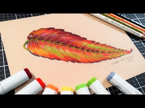 How to Draw a Sumac Leaf in Marker and Colored Pencil
